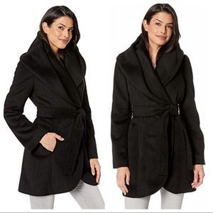 { Via Spiga } Wrap Coat in Black